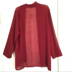 NWT Hot Touch sheer cranberry cardigan kimono XL